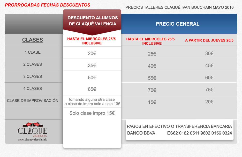 Tabla precios de taller claqué de Ivan Bouchain 2016 para Claqué Valencia V2