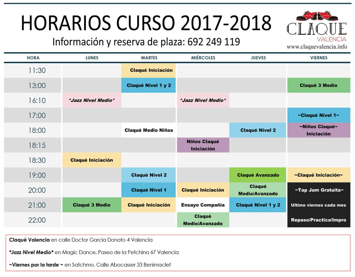 claque-valencia-horarios-curso-2017-2017-septiembre