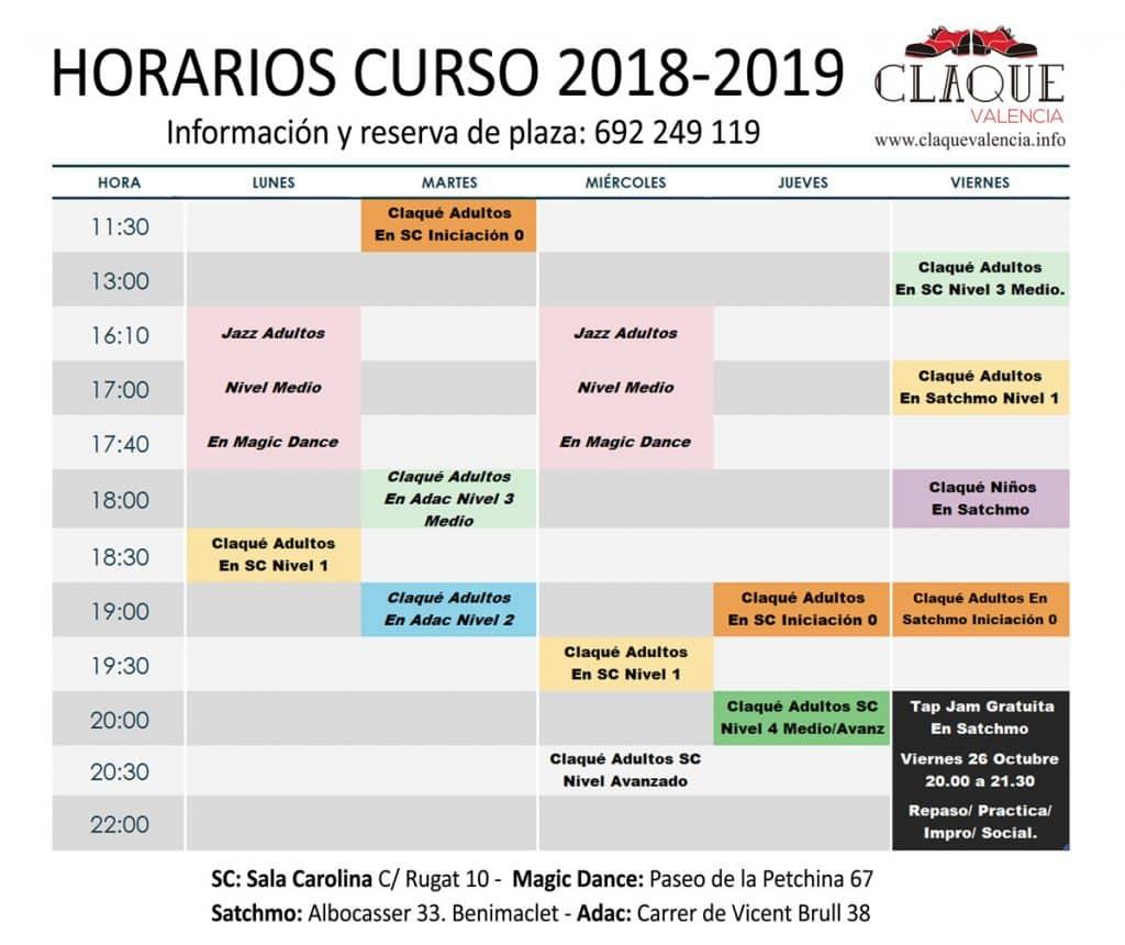 claque-valencia-horarios-inicio-octubre-2018