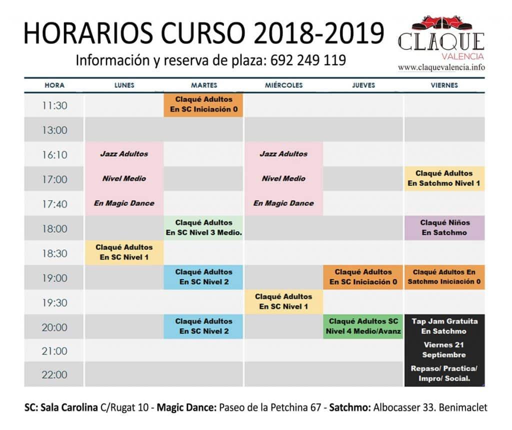 claque-valencia-horarios-septiembre-2018
