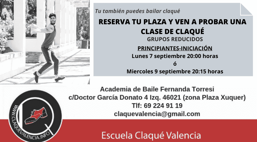 CLASES DE CLAQUÉ PARA PRINCIPIANTES EN GRUPOS REDUCIDOS